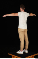 Trent brown trousers casual dressed standing t poses white sneakers white t shirt whole body 0004.jpg